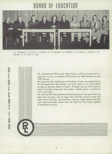 1953 Rice Lake High School Yearbook Page 7