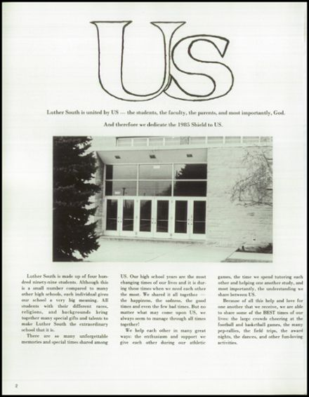 1985 Luther South High School Yearbook Page 6