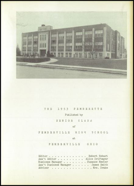 1953 Pemberville High School Yearbook Page 5