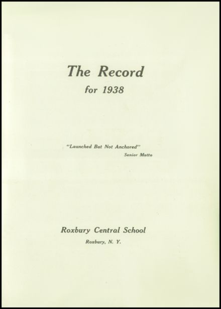 1938 Roxbury Central High School Yearbook Page 3