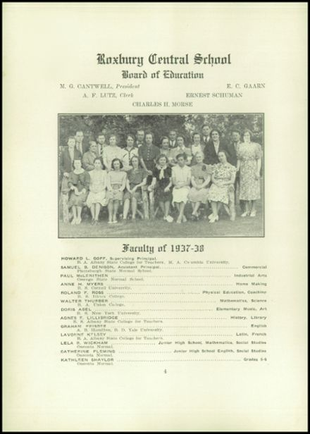 1938 Roxbury Central High School Yearbook Page 6
