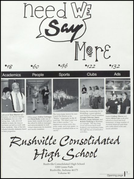 2001 Rushville Consolidated High School Yearbook Page 5
