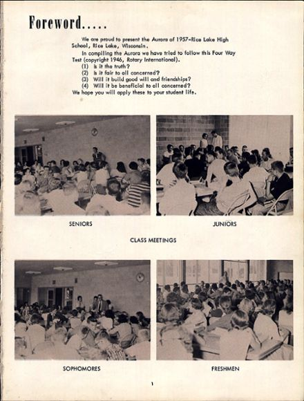 1957 Rice Lake High School Yearbook Page 5