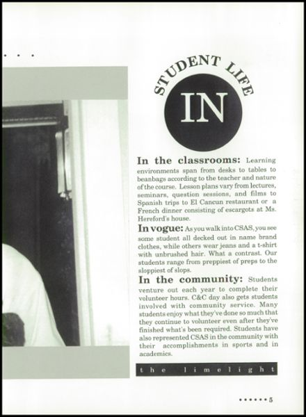 1992 Chattanooga Arts & Sciences High School Yearbook Page 9