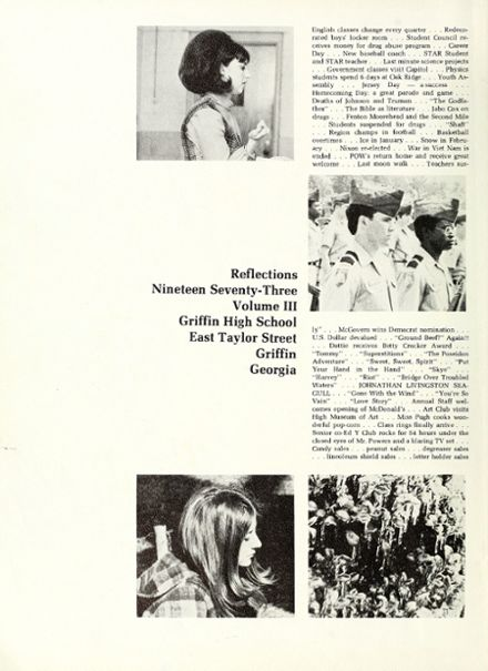 Explore 1973 Griffin High School Yearbook, Griffin GA