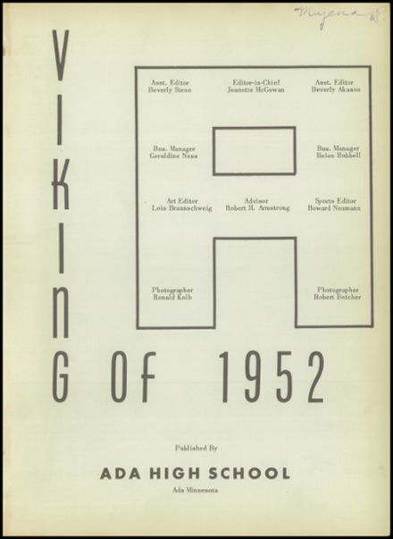 1952 Ada High School Yearbook Page 5