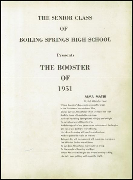 1951 Boiling Springs High School Yearbook Page 5