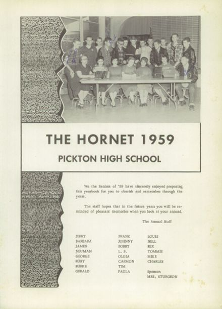 1959 Pickton High School Yearbook Page 5
