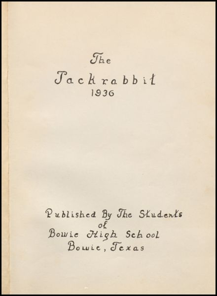 1936 Bowie High School Yearbook Page 5