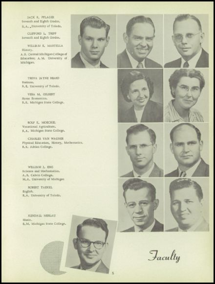 1951 Onsted High School Yearbook Page 9