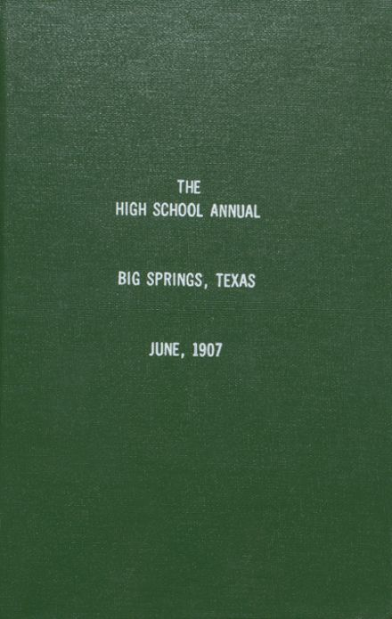 1907 Big Spring High School Yearbook Cover