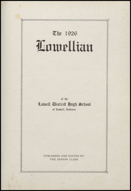 1926 Lowell High School Yearbook Page 5