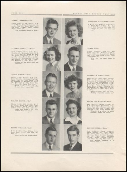 1943 Eureka High School Yearbook Page 8
