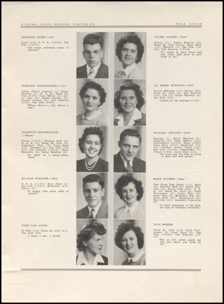 1943 Eureka High School Yearbook Page 9