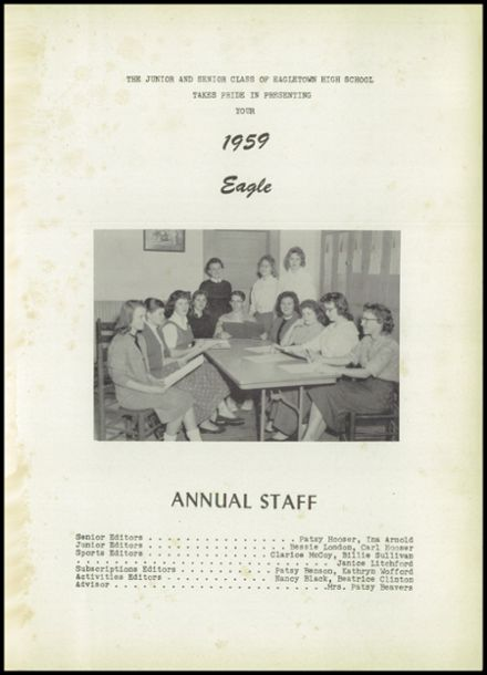 1959 Eagletown High School Yearbook Page 5
