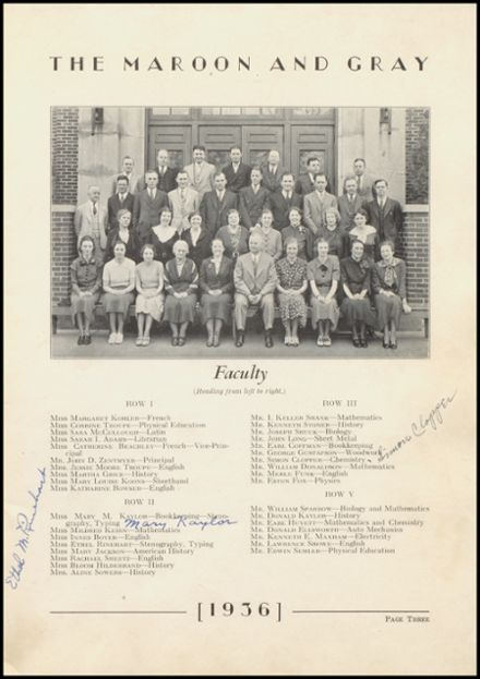 1936 Hagerstown High School Yearbook Page 7