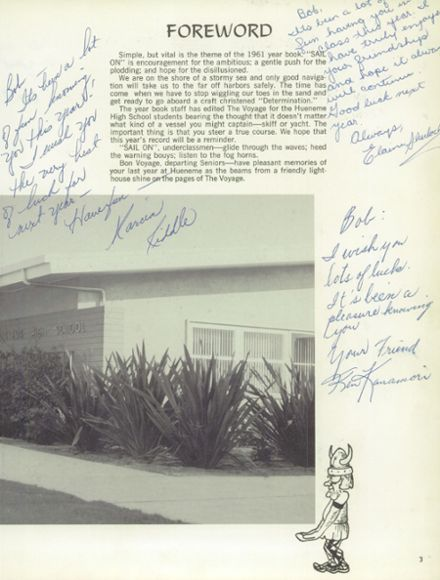 1961 Hueneme High School Yearbook Page 7