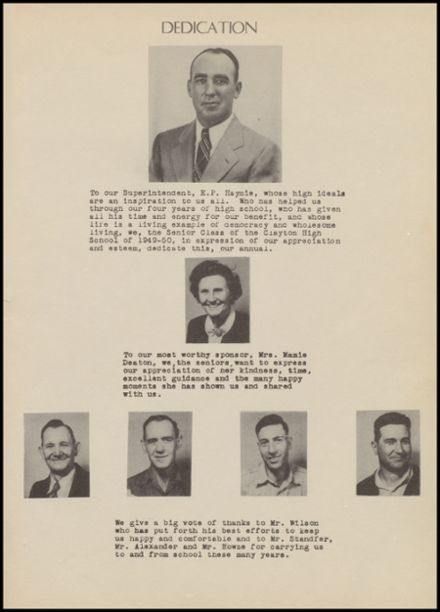 1950 Clayton High School Yearbook Page 5