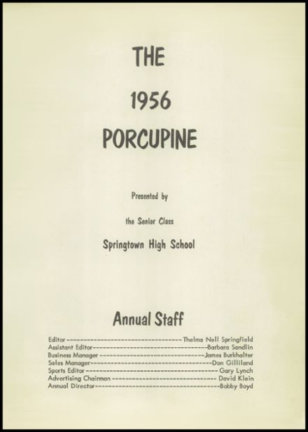 1956 Springtown High School Yearbook Page 7