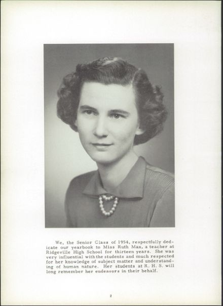 1954 Ridgeville High School Yearbook Page 6