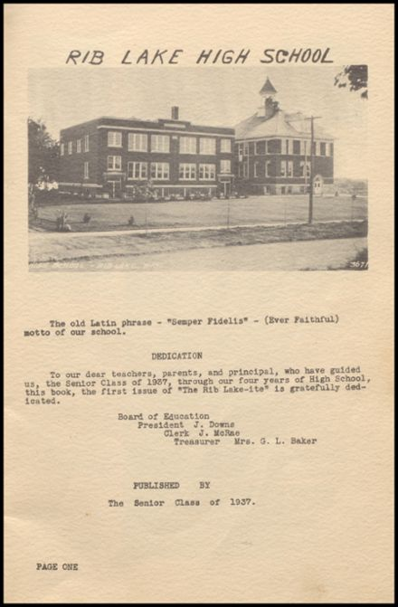 1937 Rib Lake High School Yearbook Page 5