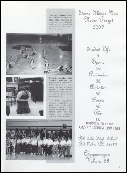 2002 Rib Lake High School Yearbook Page 5