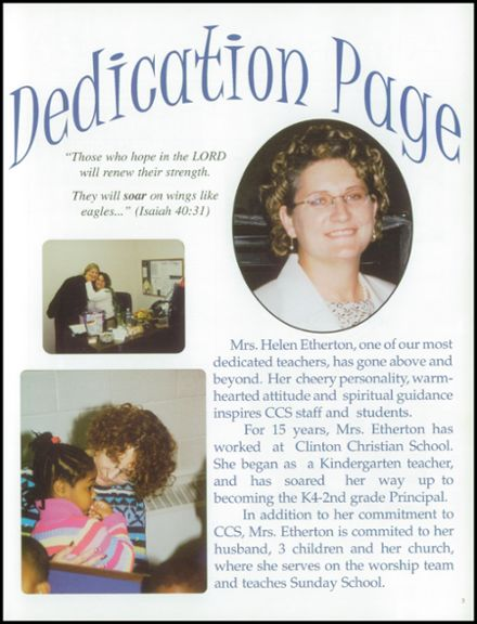 2003 Clinton Christian School Yearbook Page 7