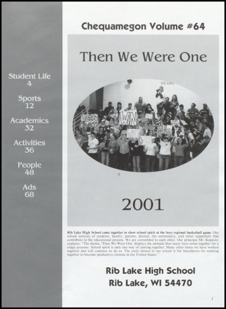 2001 Rib Lake High School Yearbook Page 5