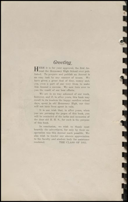 1915 Hennessey High School Yearbook Page 6