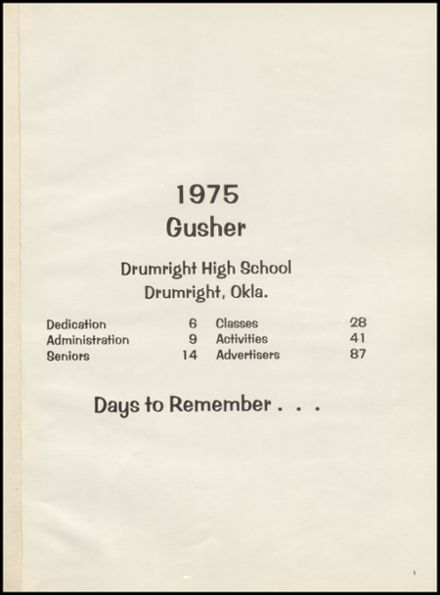 1975 Drumright High School Yearbook Page 5