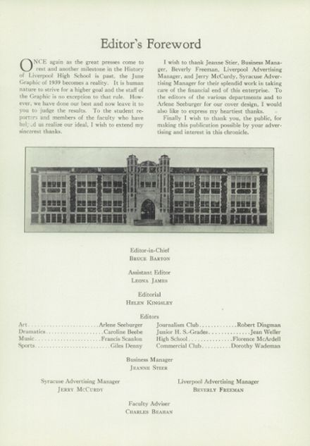1939 Liverpool High School Yearbook Page 5