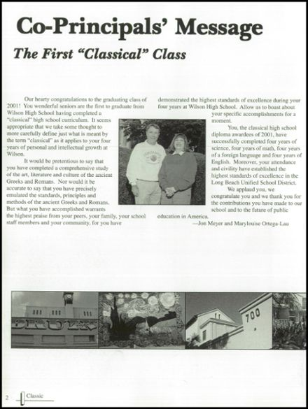 2001 Woodrow Wilson High School Yearbook Page 6
