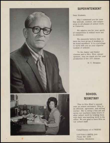 1971 Cameron High School Yearbook Page 8