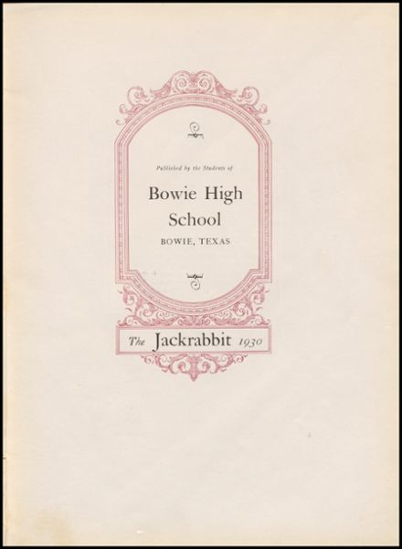 1930 Bowie High School Yearbook Page 7