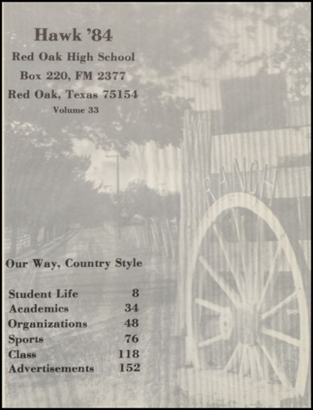 1984 Red Oak High School Yearbook Page 5
