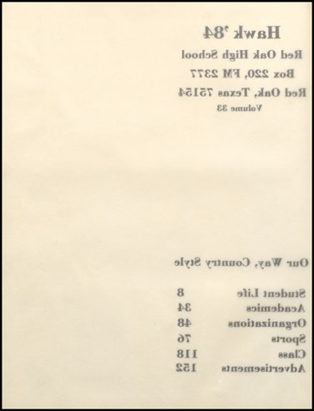 1984 Red Oak High School Yearbook Page 6