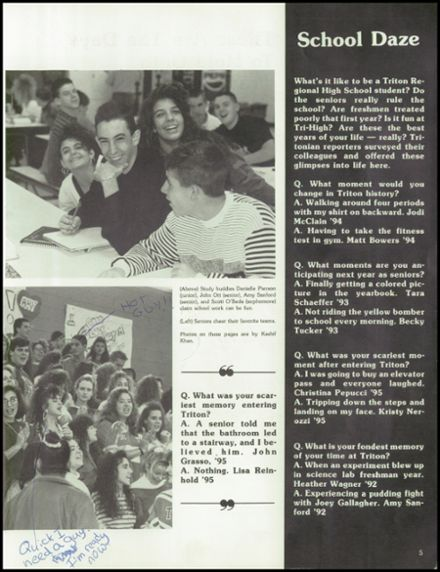 1992 Triton Regional High School Yearbook Page 9