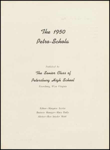 1950 Petersburg High School Yearbook Page 5