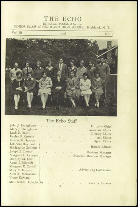 Explore 1928 Highland High School Yearbook, Highland NY