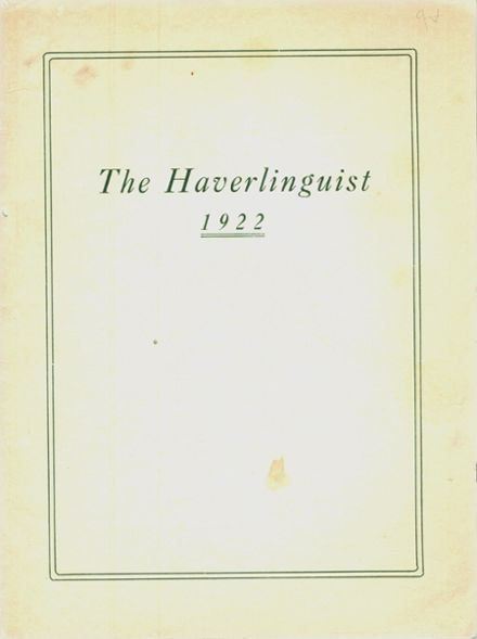 1922 Haverling High School Yearbook Cover
