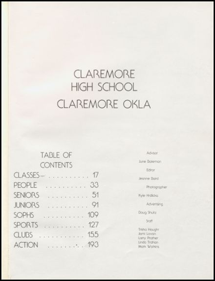 1982 Claremore High School Yearbook Page 5