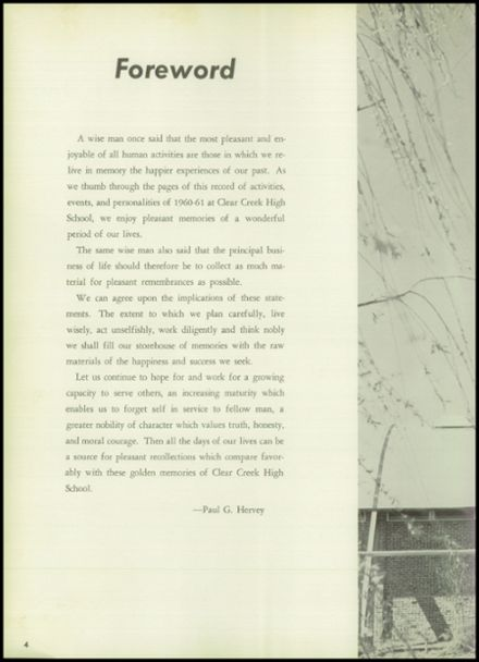 1961 Clear Creek High School Yearbook Page 8