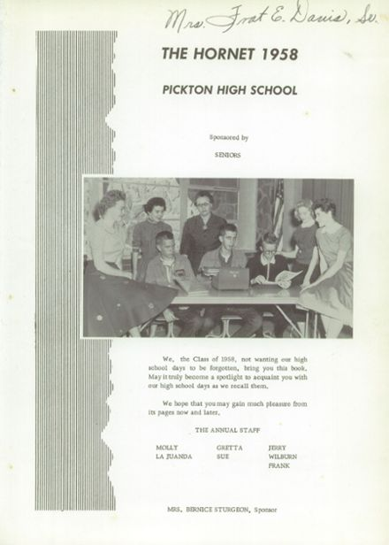 1958 Pickton High School Yearbook Page 5