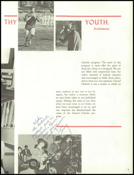 1966 Central Catholic High School Yearbook Page 9