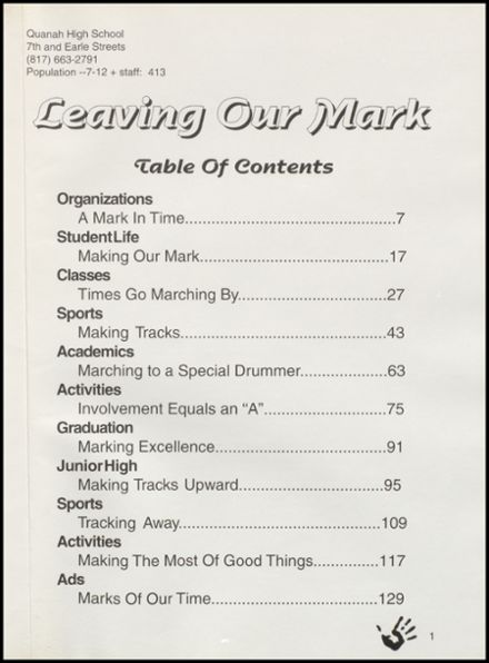 1997 Quanah High School Yearbook Page 5