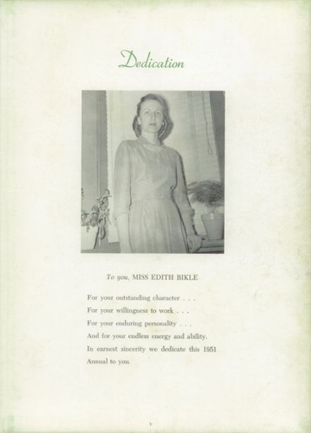 1951 Chicora High School Yearbook Page 7