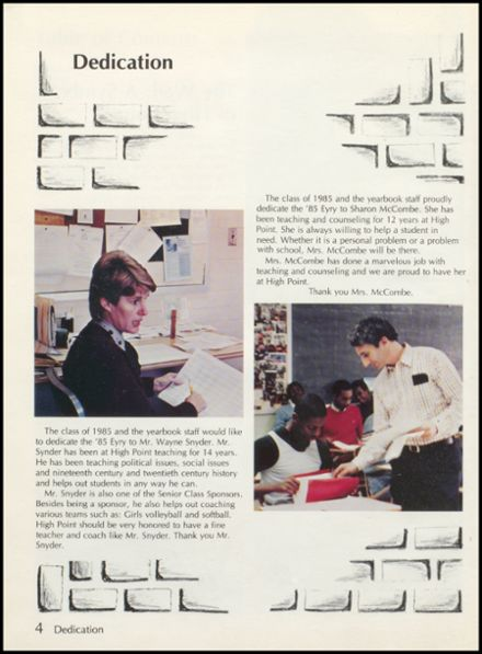 1985 High Point High School Yearbook Page 8