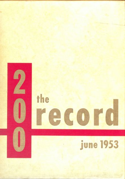 1953 Central High School Yearbook Cover