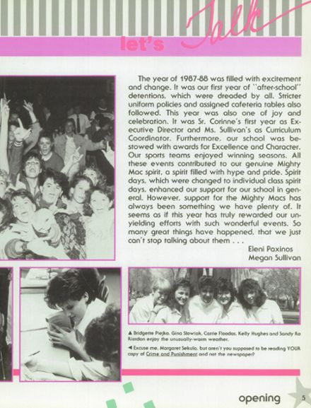 1988 Mother McAuley Liberal Arts High School Yearbook Page 9