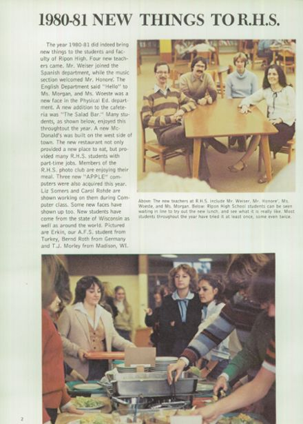 1981 Ripon High School Yearbook Page 6